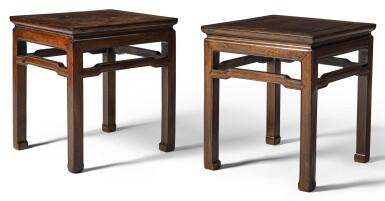 A PAIR OF HONGMU STOOLS QING DYNASTY, 19TH CENTURY   清十九世紀 紅木圓角束腰馬蹄足方凳