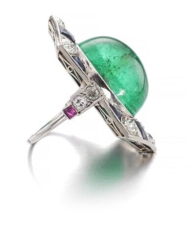 View 2. Thumbnail of Lot 609. Henri Picq | Emerald and gem set and diamond ring, circa 1930 | Henri Picq | 祖母綠配寶石及鑽石戒指,年份約1930.