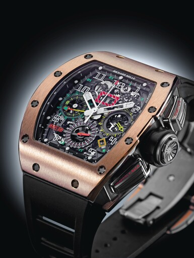 View 8. Thumbnail of Lot 6. RICHARD MILLE | RM11-02 RG   A TITANIUM AND PINK GOLD AUTOMATIC SEMI-SKELETONIZED DUAL TIME, FLYBACK CHRONOGRAPH WRISTWATCH WITH MONTH AND DATE, CIRCA 2012.
