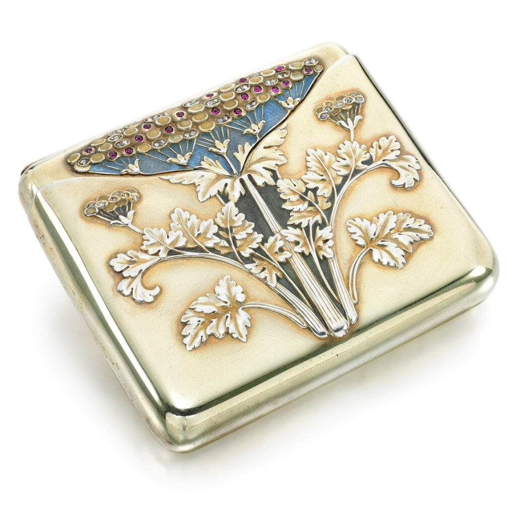 A JEWELLED SILVER-GILT AND ENAMEL CIGARETTE CASE