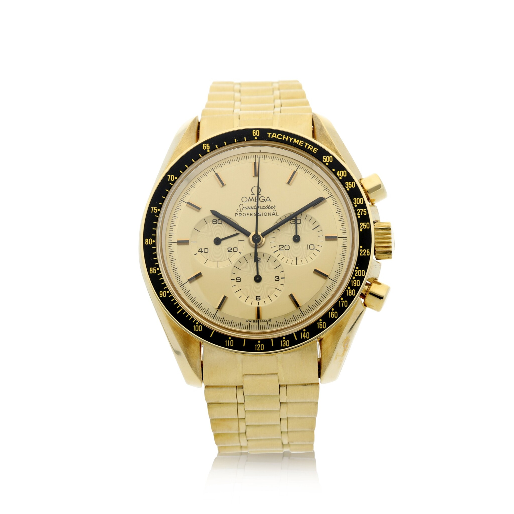 View full screen - View 1 of Lot 77. REFERENCE 145.022-69 SPEEDMASTER APOLLO XI 1969 A LIMITED EDITION YELLOW GOLD CHRONOGRAPH WRISTWATCH WITH BRACELET, A SELECTION OF WHICH WERE GIFTED TO ASTRONAUTS AND PERSONALITIES, CIRCA 1969.