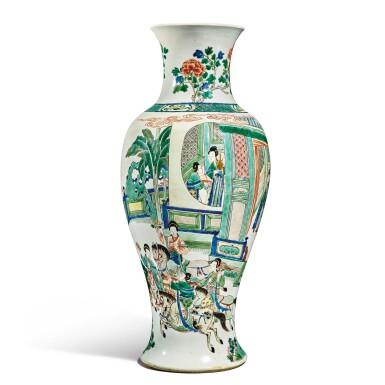View 3. Thumbnail of Lot 141. A famille-verte baluster vase, Qing dynasty, Kangxi period | 清康熙 五彩人物故事圖瓶.