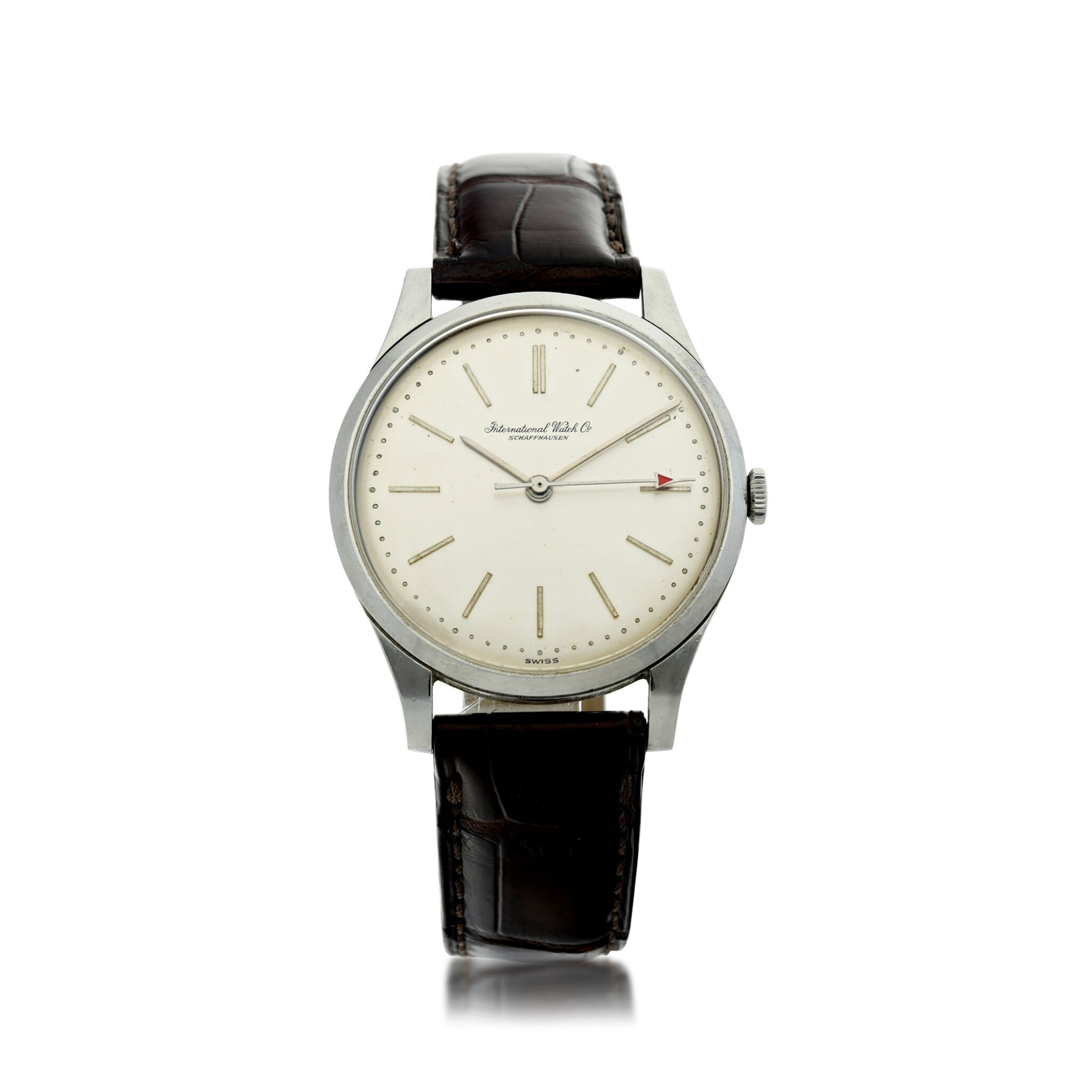 View full screen - View 1 of Lot 84. IWC | A STAINLESS STEEL CENTER SECONDS WRISTWATCH, CIRCA 1975.
