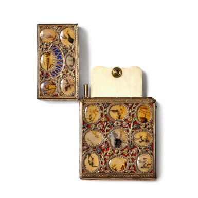 View 3. Thumbnail of Lot 19. A hardstone 'surprise' aide-mémoire with four-colour gold mounts, Johann Christian Neuber, Dresden, circa 1765.