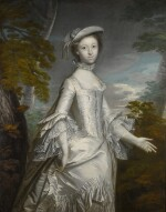 Portrait of Mrs Anthony Eyre (d. 1800), three-quarter length, wearing a white frilled satin dress, standing in a landscape
