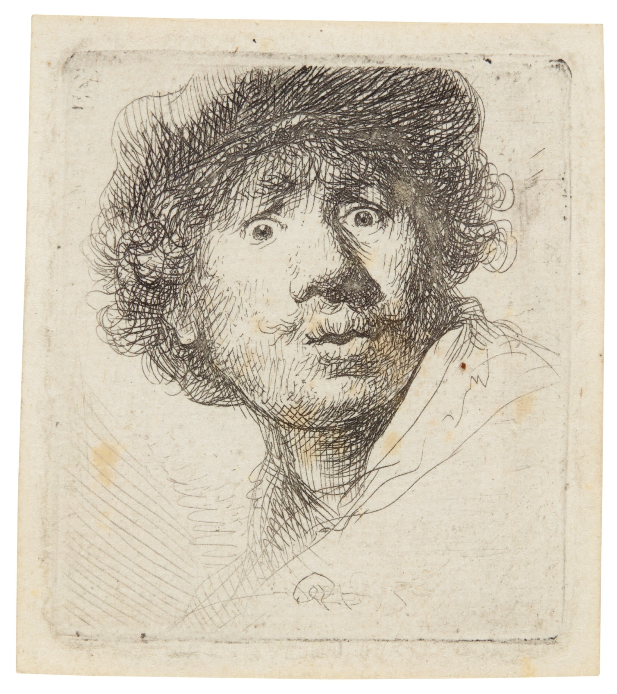 View full screen - View 1 of Lot 60. REMBRANDT HARMENSZ. VAN RIJN  |  SELF-PORTRAIT IN A CAP, WIDE-EYED AND OPEN-MOUTHED (B., HOLL. 320; NEW HOLL. 69; H. 32).