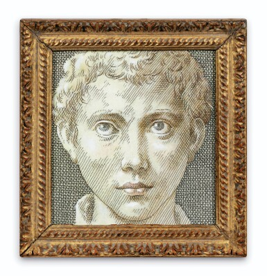 View 1. Thumbnail of Lot 119. Tête de jeune homme, d'après Parmigianino.