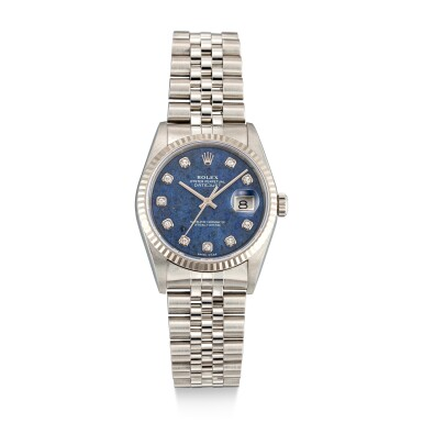 View 1. Thumbnail of Lot 112. ROLEX   DATEJUST, REFERENCE 16234 A STAINLESS STEEL AND DIAMOND-SET WRISTWATCH WITH DATE, SODALITE DIAL AND BRACELET, CIRCA 2002.