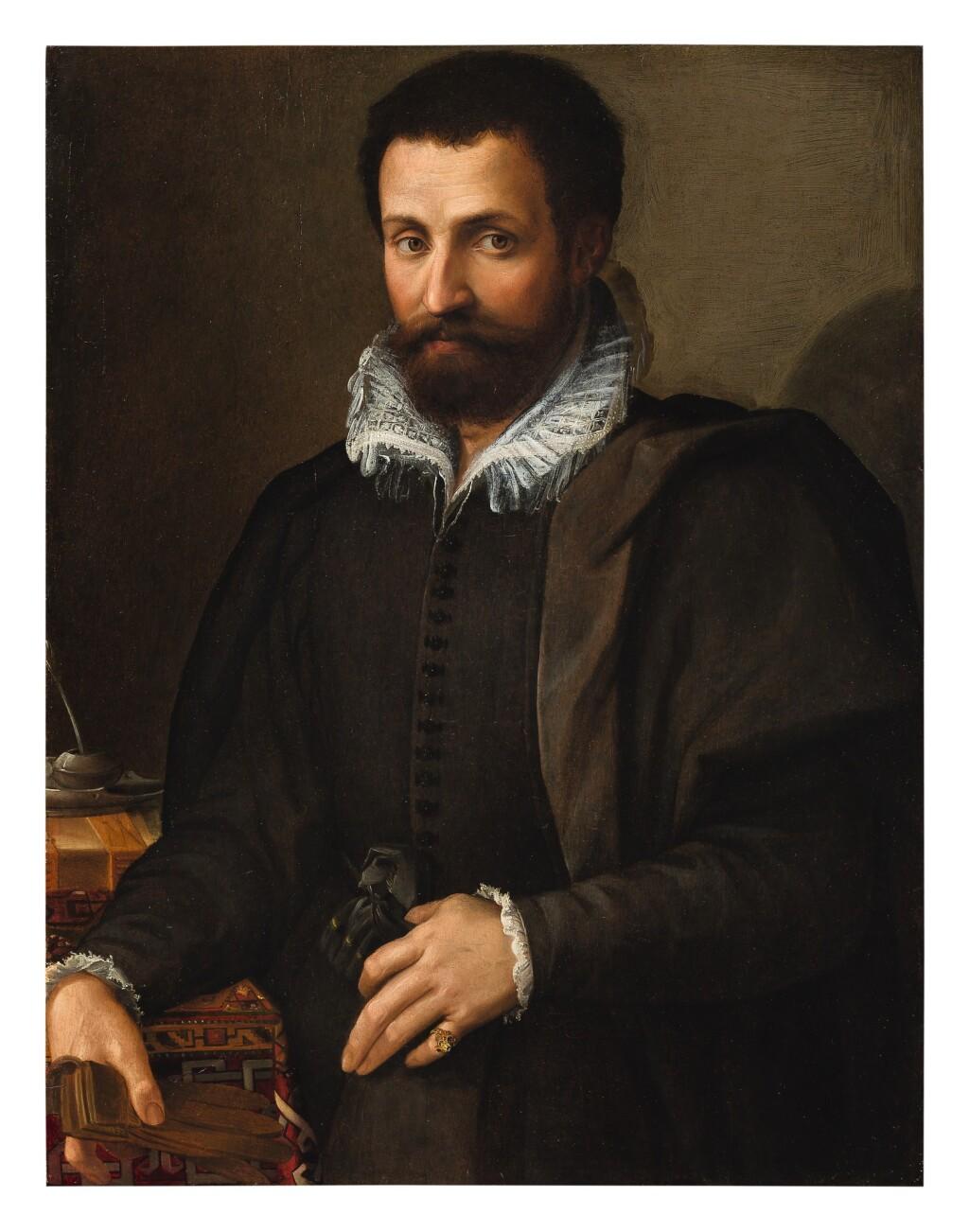 TOMMASO D'ANTONIO MANZUOLI, CALLED MASO DA SAN FRIANO    PORTRAIT OF A GENTLEMAN, THREE-QUARTERS, HIS ARM RESTING ON A WRITING TABLE