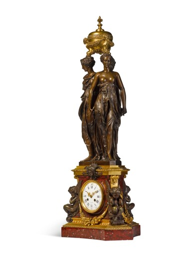 View 2. Thumbnail of Lot 21. A PATINATED BRONZE AND GRIOTTE MARBLE 'THREE GRACES' CLOCK, BY VICTOR PAILLARD, AFTER THE MODEL BY GERMAIN PILON, FRENCH, CIRCA 1855.