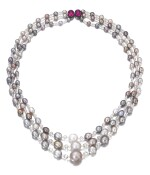 Natural pearl, diamond and ruby sautoir/necklace combination | 天然珍珠配鑽石及紅寶石長項鏈/項鏈組合