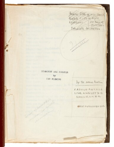 View 1. Thumbnail of Lot 19. FLEMING   Diamonds are Forever, [1955-56], the final revised typescript.