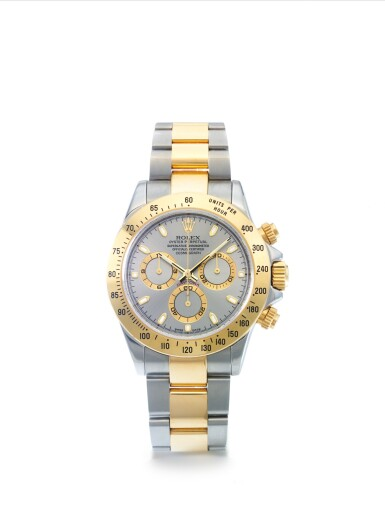 ROLEX | REF 116523 DAYTONA, A STAINLESS STEEL AND YELLOW GOLD AUTOMATIC CHRONOGRAPH WRISTWATCH WITH REGISTERS AND BRACELET CIRCA 2003