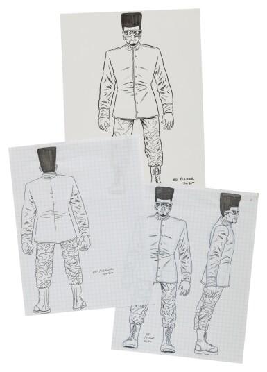 View 2. Thumbnail of Lot 41. ED PISKOR | Original artwork & designs for Public Enemy action figures, w/ original set of action figures.