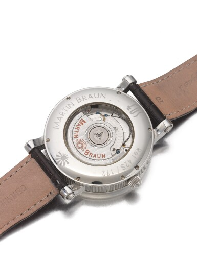 View 3. Thumbnail of Lot 188. MARTIN BRAUN   REF 42S/172 EOS, A STAINLESS STEEL AUTOMATIC WRISTWATCH WITH DATE AND SUNRISE/SUNSET INDICATION CIRCA 2000.
