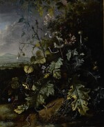 MATTHIAS WITHOOS | FOREST FLOOR STILL LIFE WITH VARIOUS FLOWERS, BUTTERFLIES, AND LIZARDS, ALL BEFORE A LANDSCAPE