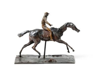 View 1. Thumbnail of Lot 226. Cheval au galop sur le pied droit, le pied gauche arrière seul touchant terre ; jockey monté sur le cheval.