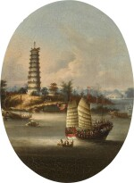 YOUQUA AND STUDIO | Chinese views: Macao, a view of the harbour with two figures in a sampan; Whampoa Pagoda; Dahangjiao Fort; and two river landscapes