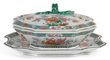A CHINESE FAMILLE VERTE TUREEN, COVER AND STAND QING DYNASTY, KANGXI PERIOD