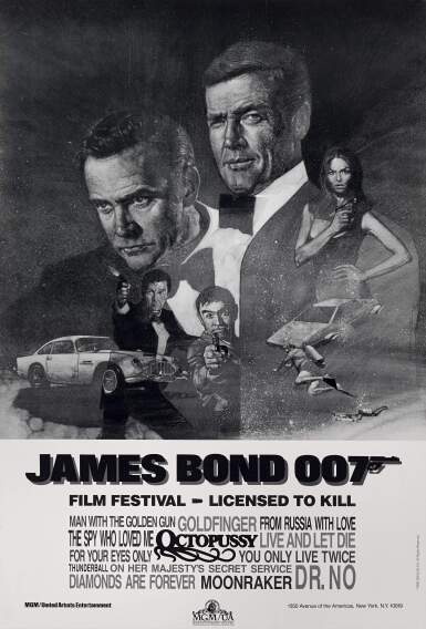 View 1. Thumbnail of Lot 145. JAMES BOND 007, FILM FESTIVAL, LICENSED TO KILL (1983) POSTER, US  .