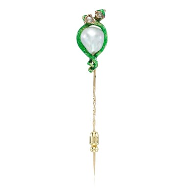 View 1. Thumbnail of Lot 16. Baroque pearl, enamel, ruby and diamond stick pin, 19th century.