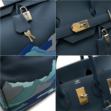 View 8. Thumbnail of Lot 108. HERMÈS | BLUE DE PRUSSE LIMITED EDITION ENDLESS ROAD BIRKIN 50 HAUTE Á COURROIERS IN TOGO, SWIFT AND CLEMENCE LEATHER WITH PALLADIUM HARDWARE, 2019.