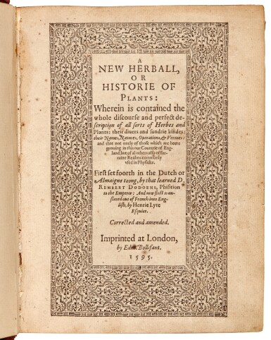 View 1. Thumbnail of Lot 8. Dodoens |  A New Herball, 1595.