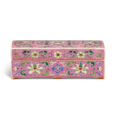 View 2. Thumbnail of Lot 103. A FINELY ENAMELLED PINK-GROUND YANGCAI BOX AND COVER QING DYNASTY, QIANLONG PERIOD | 清乾隆 宮粉地洋彩錦上添花番蓮紋長方蓋盒.