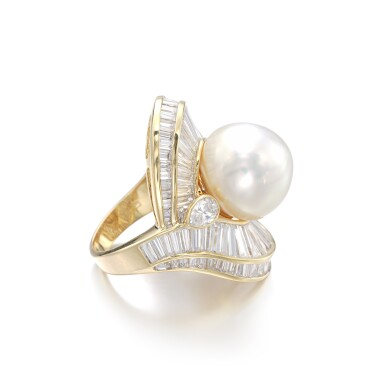 View 2. Thumbnail of Lot 1206. Cultured pearl and diamond ring.