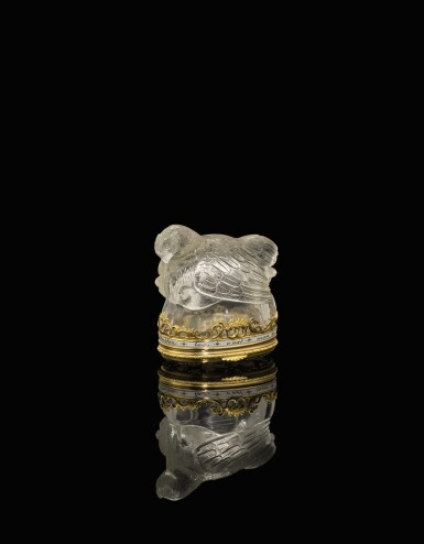 View 1. Thumbnail of Lot 35. A crystal bonbonnière with gold and enamel mounts, probably French, late 19th century.