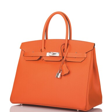 View 4. Thumbnail of Lot 65. Hermès Feu Birkin 35cm of Epsom Leather with Palladium Hardware .