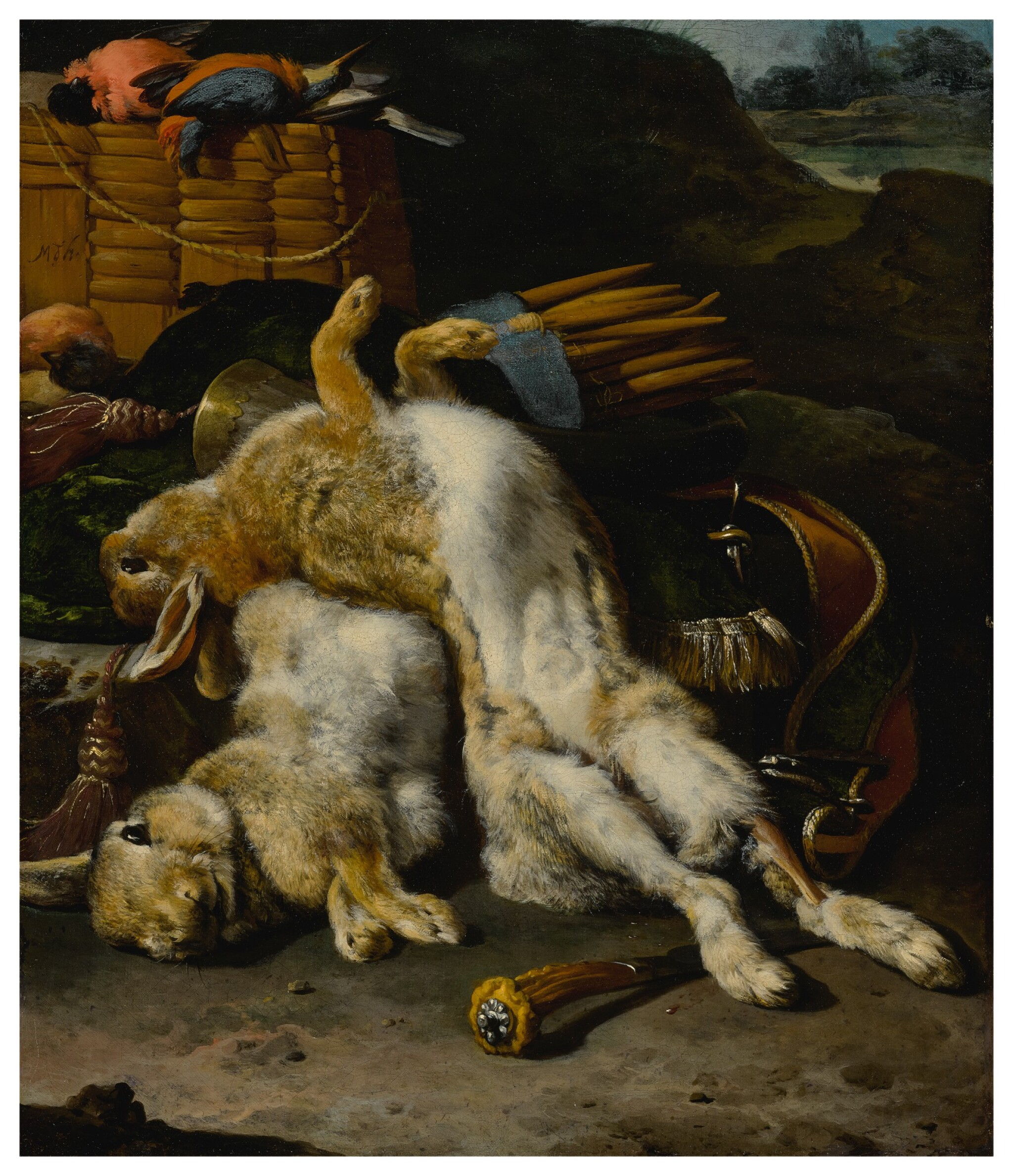 View full screen - View 1 of Lot 602. A brace of rabbits and small birds with hunting equipment in a landscape.