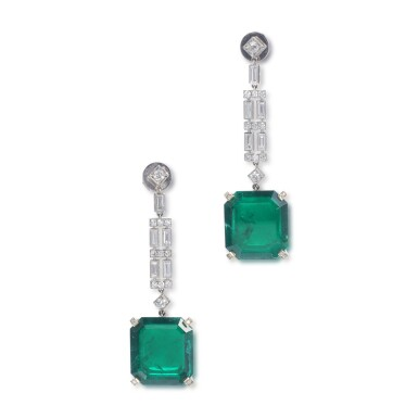 View 1. Thumbnail of Lot 1169. Pair of emerald and diamond pendent earrings.