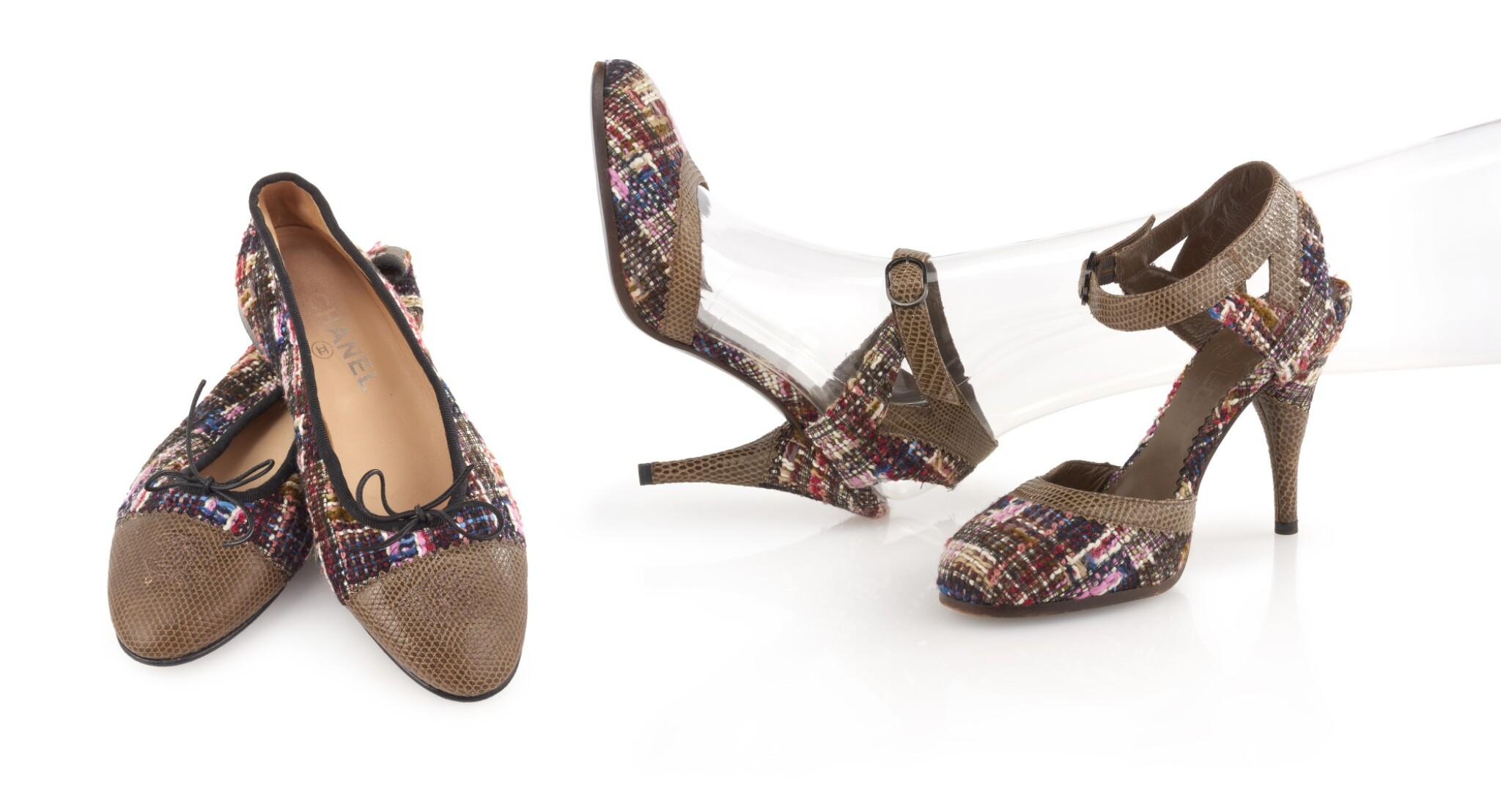 TWO PAIRS OF MULTICOLORED TWEED AND GREEN LEATHER SHOES, CHANEL