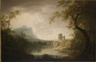 GEORGE MULLINS | A RIVER LANDSCAPE WITH A GROUP OF FIGURES BY A WATERFALL, WITH CLASSICAL RUINS, AN IRISH ROUND-TOWER AND A MOUNTAIN BEYOND