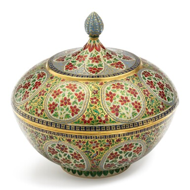 View 1. Thumbnail of Lot 62. A fine enamelled gold bowl and cover, India, Rajasthan, Jaipur, 19th century.