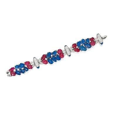 SAPPHIRE, RUBY AND DIAMOND BRACELET   藍寶石配紅寶石及鑽石手鏈