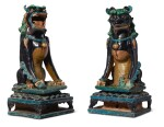 A PAIR OF MASSIVE FAHUA-GLAZED FIGURES OF SEATED LIONS, QING DYNASTY