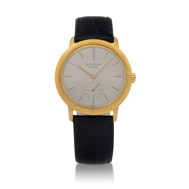 View 1. Thumbnail of Lot 87. Ref. 3454 Yellow gold wristwatch with 'reeded' bezel Made in 1962 | 百達翡麗 3454型號黃金腕錶,1962年製.