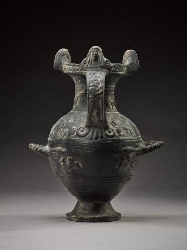 View 2. Thumbnail of Lot 36. An Etruscan Bucchero-Ware Hydria, 6th Century B.C..