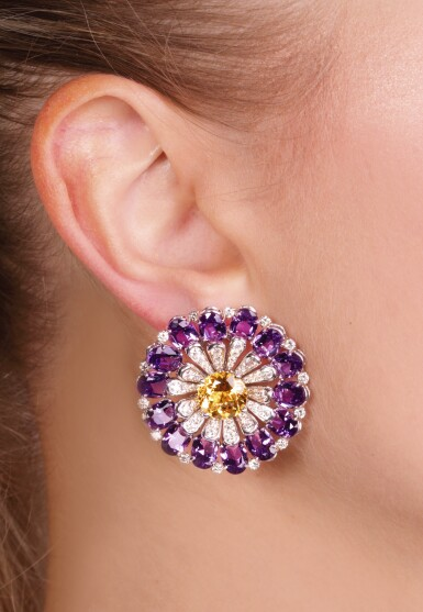 View 6. Thumbnail of Lot 67. Pair of amethyst, citrine and diamond ear clips, Michele della Valle.