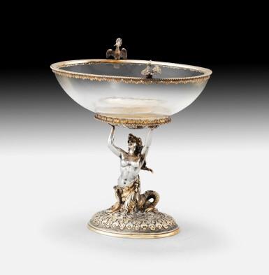 View 2. Thumbnail of Lot 264. A crystal oval bowl with parcel-gilt silver mounts, probably Hanau circa 1880 | Coupe sur pied en cristal, montée en argent et vermeil, probablement Hanau vers 1880.