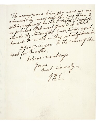 View 5. Thumbnail of Lot 126. QUEEN VICTORIA   autograph letter signed, to Tennyson, October 1883.