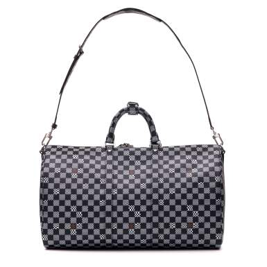 View 4. Thumbnail of Lot 337. Black Distorted Damier Keepall Bandouliere 50cm in Coated Canvas and Cowhide Leather with Palladium Tone Hardware, 2020.