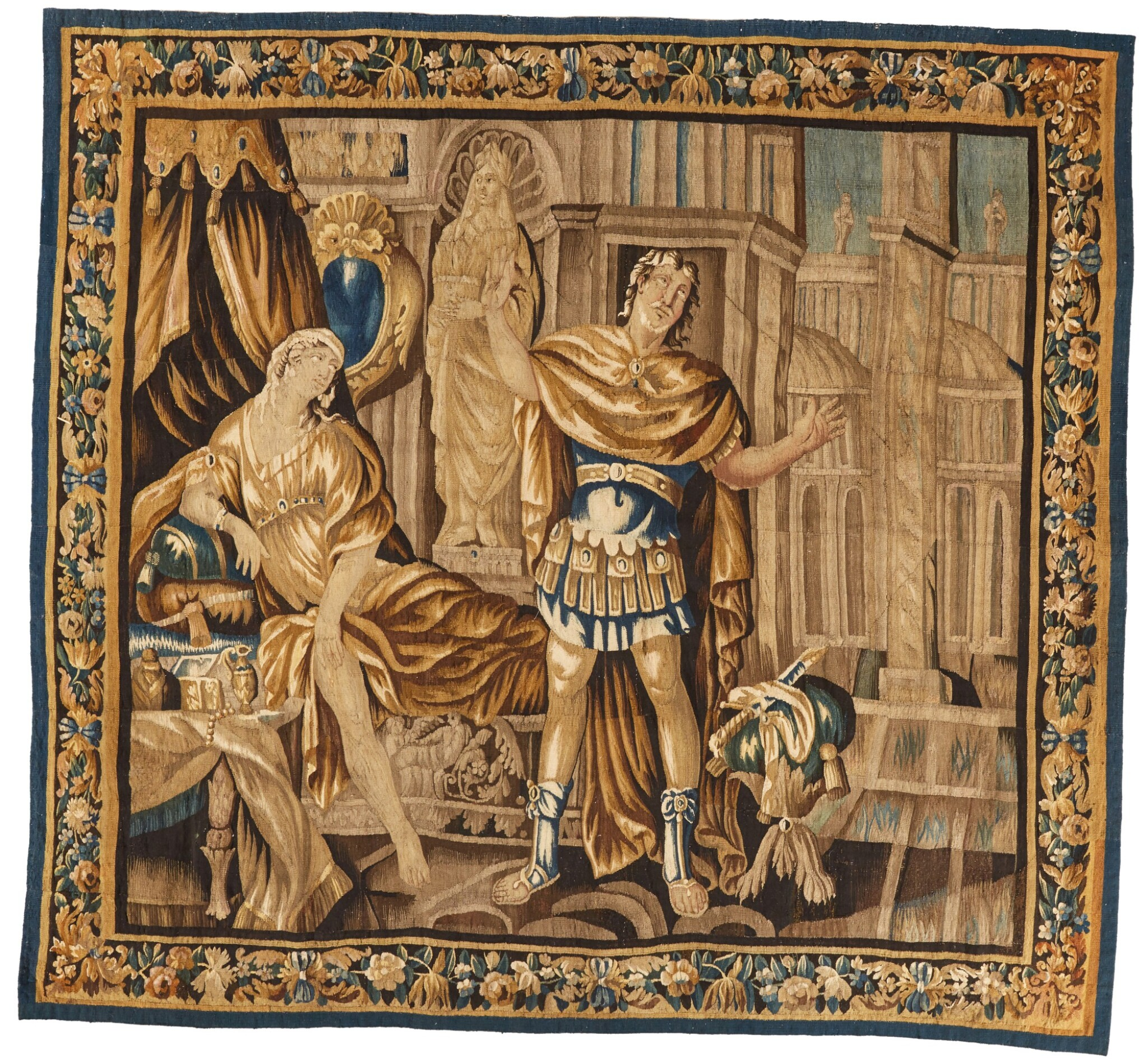 View 1 of Lot 18. A French classical tapestry, 'Portia', from the series illustrious women of Antiquity, Aubusson, second half 17th century, after Isaac Moillon.