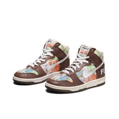 View 1. Thumbnail of Lot 1. Leonard Hilton McGurr 'Futura' | Nike Dunk High Pro SB 'FLOM' | Size 8.
