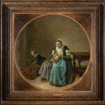 DIRCK HALS   A MOTHER SEARCHING HER CHILDREN FOR NITS, A CHILD STOKING A FIRE TO THE LEFT