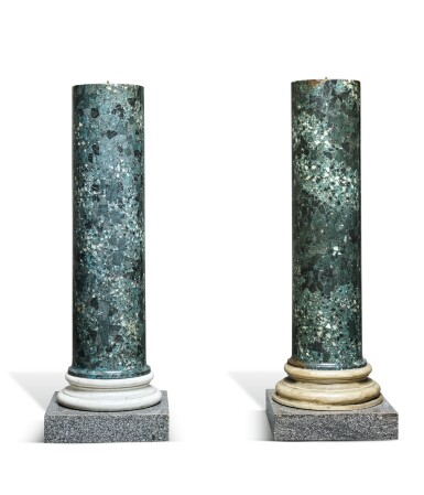 A PAIR OF REGENCY SCAGLIOLA, PAINTED WOOD AND GRANITE COLUMNAR PEDESTALS, EARLY 19TH CENTURY