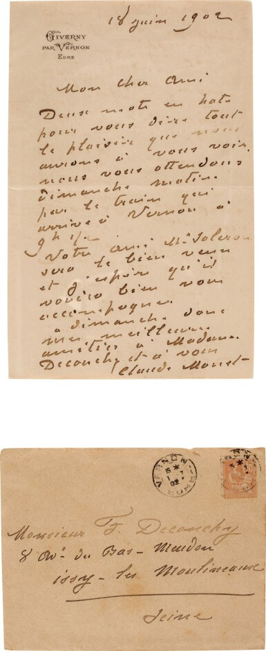 View 1. Thumbnail of Lot 73. Monet | Autograph letter signed (''Claude Monet''), to the painter Ferdinand Deconchy, Giverny, 1902.