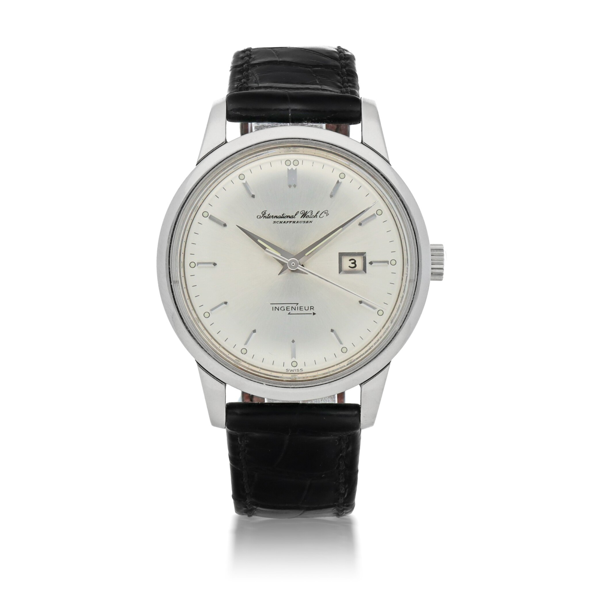View full screen - View 1 of Lot 174. INGENIEUR STAINLESS STEEL ANTI-MAGNETIC WRISTWATCH WITH DATE CIRCA 1963.